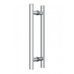 Shower glass door handle15 3/4 inch-Flat 30x20mm-round base D25mm H-style. CC-300mm- Chrome.