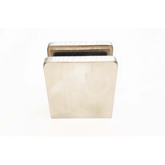 Glass clip square style- flat back-Brushed finish- 10-12mm glass