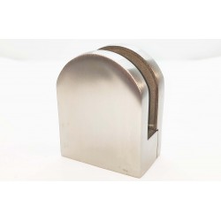 Glass clip rounded style- flat back-Brushed finish- 10-12mm glass