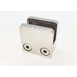 Glass clip square style- flat back-Chrome finish-12mm glass