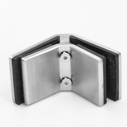 Glass clamp 90° (Corner)- Wide body- for 10-12mm glass - Brushed finish