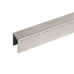 """Stainless Steel Slim U-Channel Cap 15x15x1.5mm for 1/2""""  Glass-Brushed finish"""