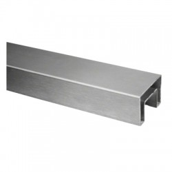 """Heavy Duty Stainless Steel U-Channel Cap/Tube 25x21mm for 1/2"""" or 5/8"""" Glass-Brushed finish 316-Stainless"""