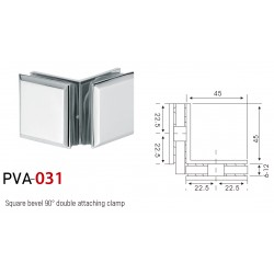 SHOWER GLASS CLAMP 90° CORNER BEVELED STYLE 45X45MM-CHROME FINISH