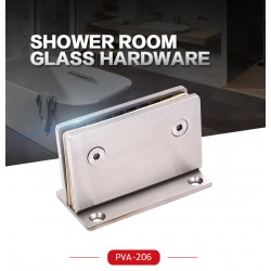 Chrome-HEAVY DUTY  Square 90° fixed bathroom glass clamp-Hinge style