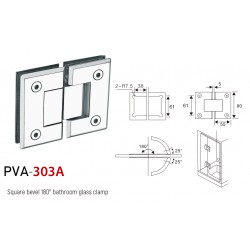 SQUARE BEVELED 180°  HINGE FOR GLASS TO GLASS DOOR. STAINLESS STEEL-CHROME.