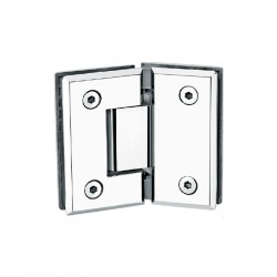 SQUARE STYLE 135°  HINGE FOR GLASS TO GLASS DOOR. STAINLESS STEEL-CHROME.