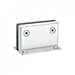 CHROME FINISHED -HEAVY DUTY  SQUARE BEVELED 90° fixed bathroom glass clamp-Hinge style