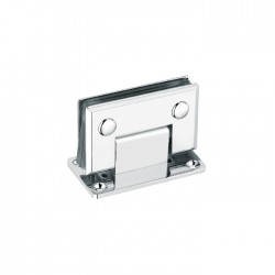 SQUARE BEVELED 90° WALL-GLASS HINGE WITH FULL BACKPLATE - CHROME FINISH-BRASS MATERIAL