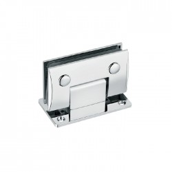 SQUARE CAMBERED 90° WALL-GLASS HINGE WITH FULL BACKPLATE - CHROME FINISH-BRASS MATERIAL