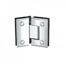 SQUARE CAMBERED 135°  HINGE FOR GLASS TO GLASS DOOR. BRASS -CHROME.