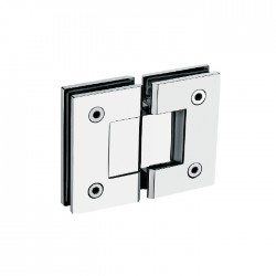 Square style 180°  hinge for  glass to  glass door. Stainless Steel-Brushed.