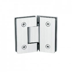 Square style 135°  hinge for  glass to  glass door. Stainless Steel-Brushed.