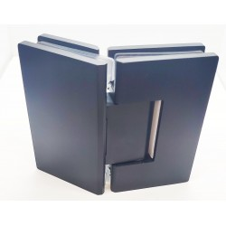 Square style 135°  hinge for  glass to  glass door. Stainless Steel-Matte Black.