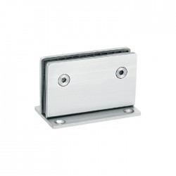 Satin/Brushed-HEAVY DUTY  Square 90° fixed bathroom glass clamp-Hinge style