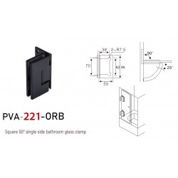 90° WALL-GLASS HINGE WITH OFFSET BACKPLATE - MATTE BLACK-Brass material