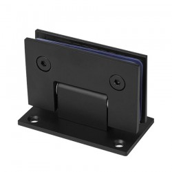 90° WALL-GLASS HINGE WITH FULL BACKPLATE - MATTE BLACK-BRASS MATERIAL