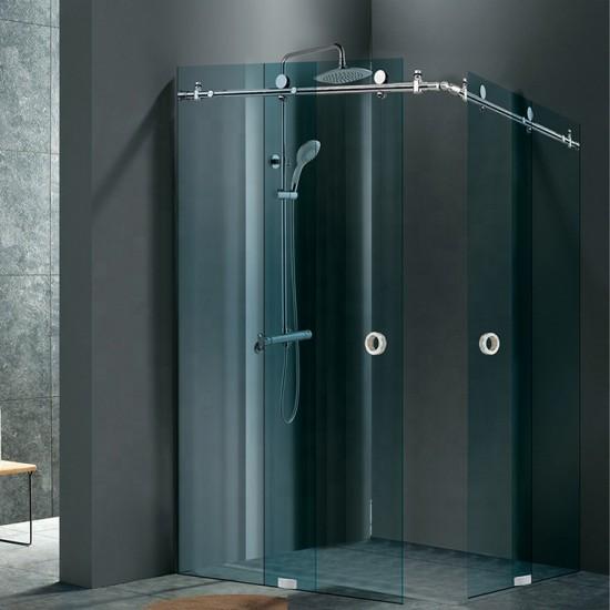 Frameless Corner Glass Sliding Door Shower set-Chrome finish